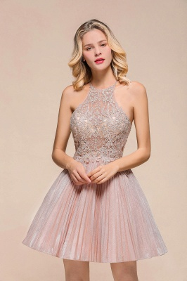 Pink Halter Lace Applique Lace A Lline Short Homecoming Dresses | Beackless Cocktail Dresses_5