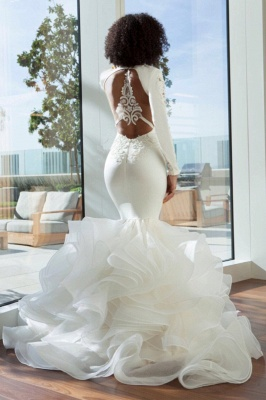 Unique Long Sleeve V Neck Backless Applique Ruffles Mermaid Wedding Dresses_3