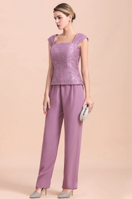 Lilac Chiffon Cheap Mother of Bride Pant Suits with Half Sleeves Jacket_9