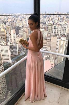 Simple High Neck Keyhole Open Back Chiffon Pink Prom Dresses_2