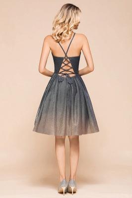 Sexy Spaghetti Strap V-neck Ruffles Short Knee Length Homecoming Dresses | Criss Cross Graduation Dresses_3