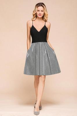 Sexy Black Spaghetti Strap Deep V Neck Criss Cross A Line Short Homecoming Dresses_4