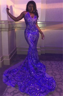 Glitter Spaghetti Straps V-neck Sequined Mermaid Prom Dresses_1