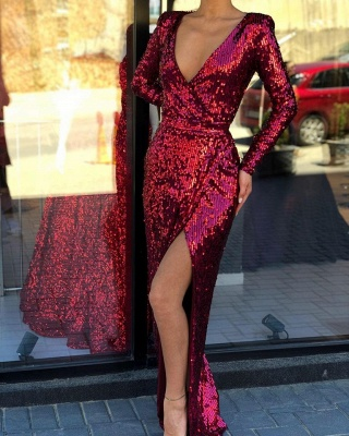 Deep V Neck Long Sleeve Sequined Front Slit Floor Length Sheath Prom Dresses | Cheap Evening Gown_2