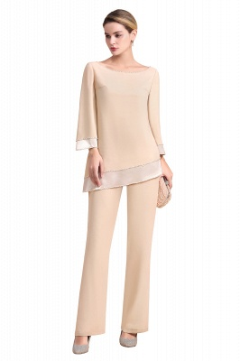 Champagne Bateau  3/4 Sleeves Chiffon Mother of Bride Pant Suits_7