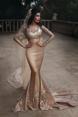 Sexy Two Pieces Long Sleeve Applique Sequined Mermaid Wedding Dresses | Backless Fit And Flare Bridal Gown_1