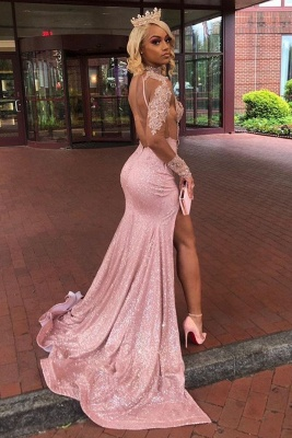 High Neck Long Sleeves Sheer Sexy Fitted Prom Dresses with High Slit_2