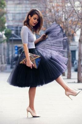 Elegant Tulle Short Ball-Gown Knee Length Elastic Women Skirts_20