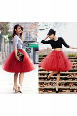 Elegant Tulle Short Ball-Gown Knee Length Elastic Women Skirts_36