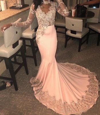 Luxury High Neck Long Sleeve Applique Beading Mermaid Prom Dresses_2