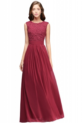 Elegant Sheath Crew Sleeveless Lace Top Chiffon Bridesmaid Dress_2