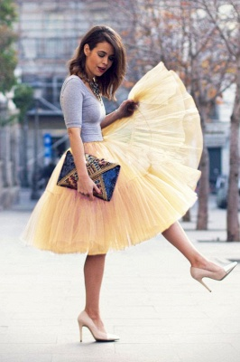 Elegant Tulle Short Ball-Gown Knee Length Elastic Women Skirts_65