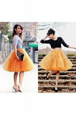 Elegant Tulle Short Ball-Gown Knee Length Elastic Women Skirts_35