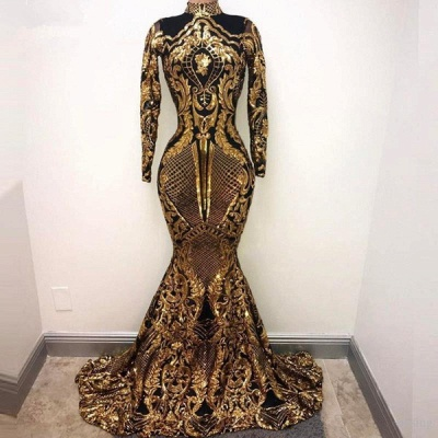 Golden High Neck Long Sleeve Sequined Mermaid Prom Dresses | Fitted And Flare Evening Dresses_3