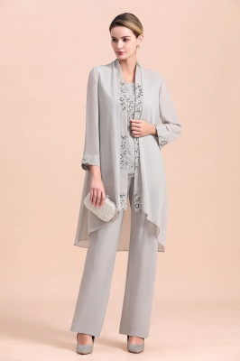 Grey Chiffon Mother of Bride Pant Suits with Half Sleeves Long Jacket_4