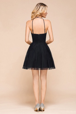 Latest Halter Applique Lace Short A Line Homecoming Dresses | Backless Cocktail Dresses_3