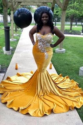 Strapless Yellow Velvet Appliques Mermaid Prom Dresses_2
