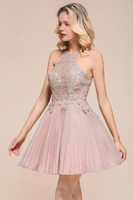 Pink Halter Lace Applique Lace A Lline Short Homecoming Dresses | Beackless Cocktail Dresses_9