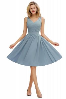 Cheap A-line Chiffon Ruffle Bridesmaid Dress Sleeveless Lace Homecoming Dress in Stock_6