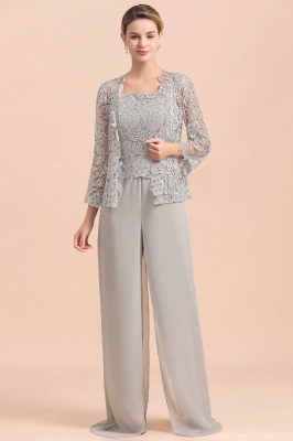 Elegant Silver Chiffon Mother of Bride Pants Suits with Lace Jacket