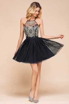 Latest Halter Applique Lace Short A Line Homecoming Dresses | Backless Cocktail Dresses_8