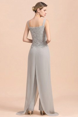 Elegant Silver Chiffon Mother of Bride Pants Suits with Lace Jacket_11