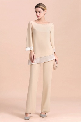 Champagne Bateau  3/4 Sleeves Chiffon Mother of Bride Pant Suits