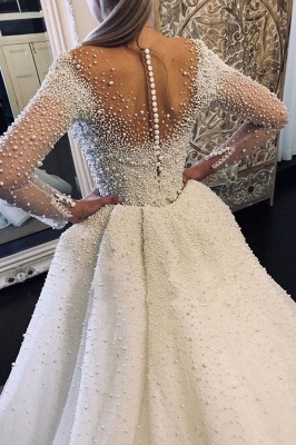 Ivory Long Sleeves V-neck Button Overall Covered Pearls Wedding Dresses with Detachable Train_2