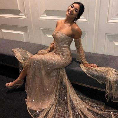 Deep V-neck Off The Shoulder Front Slit Sequined Backless Prom Dresses | Fitted And Flare Evening Dresses_4