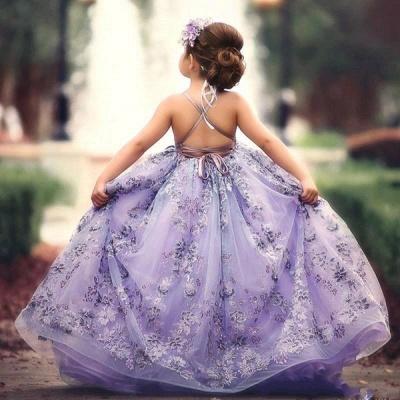Lovely Purple Straps Sleeveless Applique Flower Criss Cross A Line Flower Girl Dresses | Little Girl Pageant Dresses_3