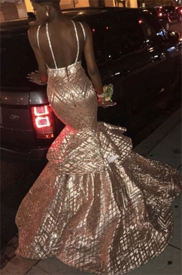 Shiny Halter Deep V Neck Sleeveless Sequined Beading Tiered Floor Length Mermaid Prom Dresses_2