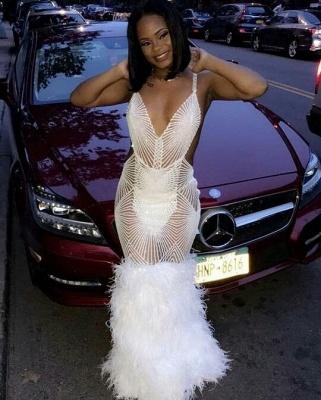 Sapghetti Straps Deep V-neck Sheer Mermaid White Prom Dresses_2