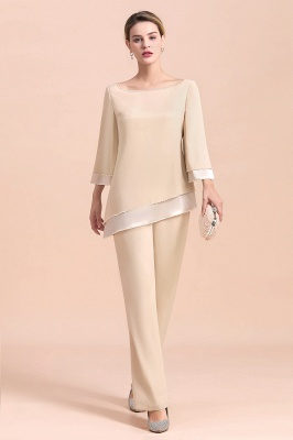 Champagne Bateau  3/4 Sleeves Chiffon Mother of Bride Pant Suits_4