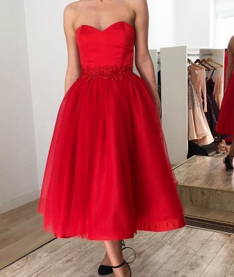 Sexy Red Sweetheart Sleeveless Applique A-line Tea-length Prom Dresses_2