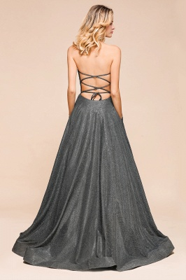 Attractive Strapless Front Slit A Line Prom Dresses | Criss Cross Sequined Evening Dresses_4