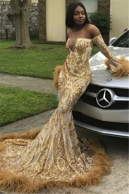 Luxury Golden Off-the-shoulder Long Sleeve Applique Sequined Mermaid Prom Dresses | Fitted Evening Dresses_1