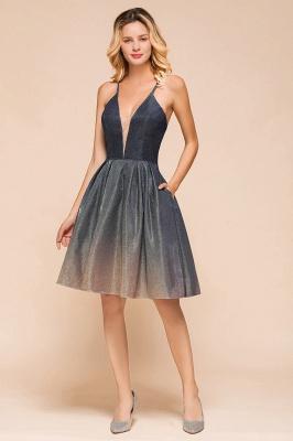 Sexy Spaghetti Strap V-neck Ruffles Short Knee Length Homecoming Dresses | Criss Cross Graduation Dresses_8