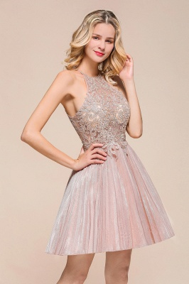 Pink Halter Lace Applique Lace A Lline Short Homecoming Dresses | Beackless Cocktail Dresses_4