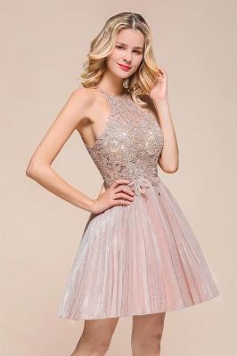Pink Halter Lace Applique Lace A Line Short Homecoming Dresses | Backless Cocktail Dresses_4