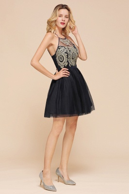 Latest Halter Applique Lace Short A Line Homecoming Dresses | Backless Cocktail Dresses_7