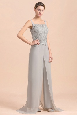 Elegant Silver Chiffon Mother of Bride Pants Suits with Lace Jacket_9