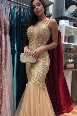 Golden Strap Sleeveless V-neck  Applique Beading Jewel Mermaid Prom Dresses_1