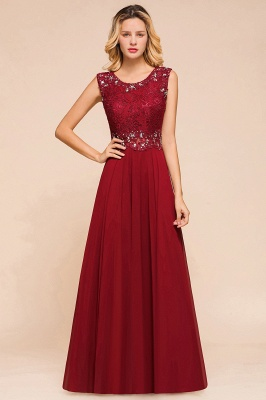 Burgundy Jewel Sleeveless Applique Lace Floor Length Prom Dresses | Beading Cheap Party Dresses_1