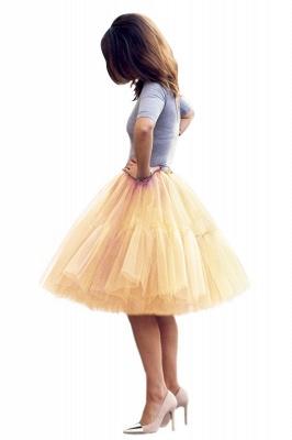 Elegant Tulle Short Ball-Gown Knee Length Elastic Women Skirts_66