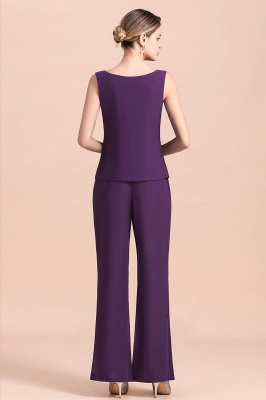 Grape Chiffon Mother of Bride Jumpsuit with Long-Sleeve Jacket_13