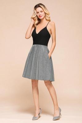Sexy Black Spaghetti Strap Deep V Neck Criss Cross A Line Short Homecoming Dresses_7