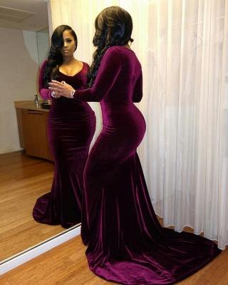 Sexy Long Sleeve V Neck Full-back Mermaid Ruffles Prom Dresses | Charming Evening Dresses_2