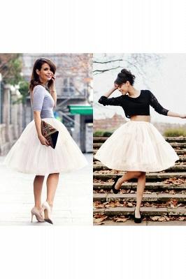 Elegant Tulle Short Ball-Gown Knee Length Elastic Women Skirts_31