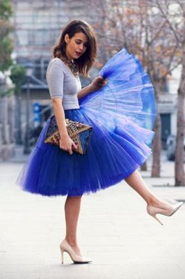 Elegant Tulle Short Ball-Gown Knee Length Elastic Women Skirts_24