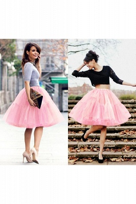 Elegant Tulle Short Ball-Gown Knee Length Elastic Women Skirts_37
